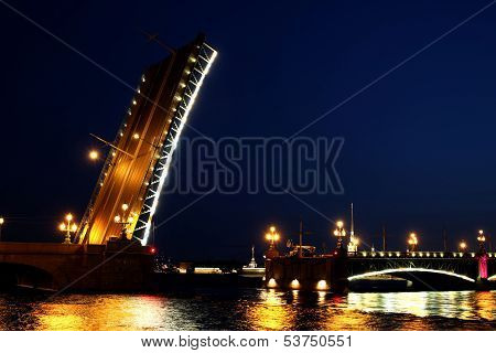 Drawbridge In St. Petersburg At Night