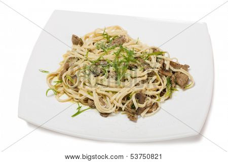 Udon noodles with beef tenderloin, mushrooms and grated cheese.