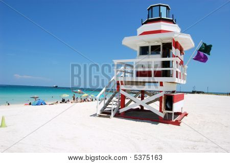 Lifeguard Stamd On The Beach At Miami Beach