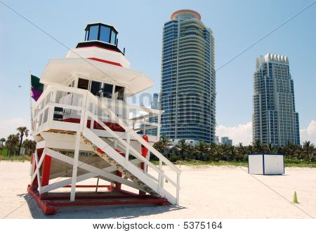 Lifeguard Stand And Luxury Highrise Condos