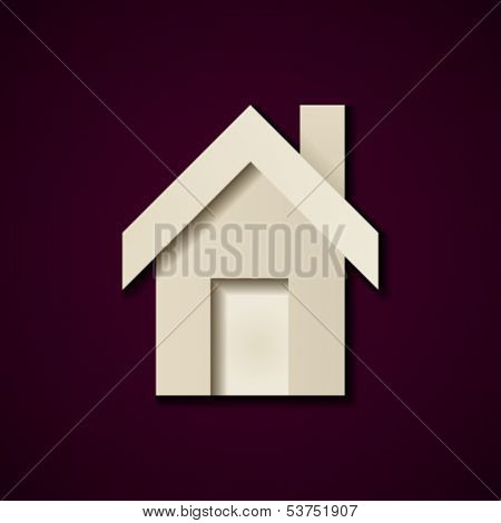 vector paper house icon design template