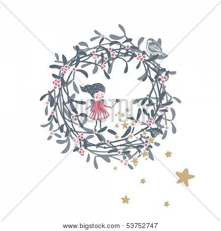 winter holiday theme with little fairy and mistletoe wreath