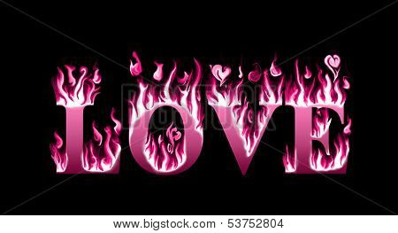 Word love engulfed in flames, concept of burning love