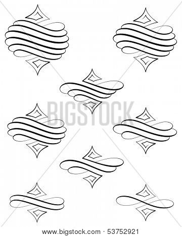 Black helical swirl decoration eight variations