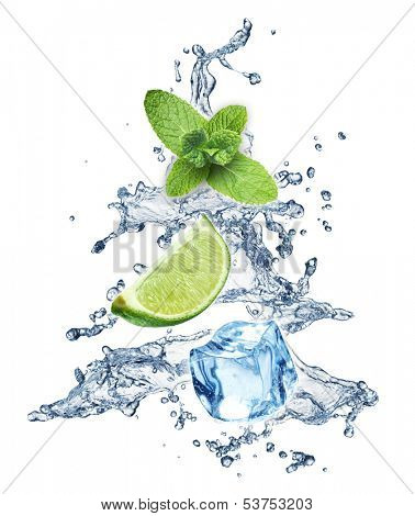 Ice cubes, mint leaves, lime and water splash christmas tree on a white background