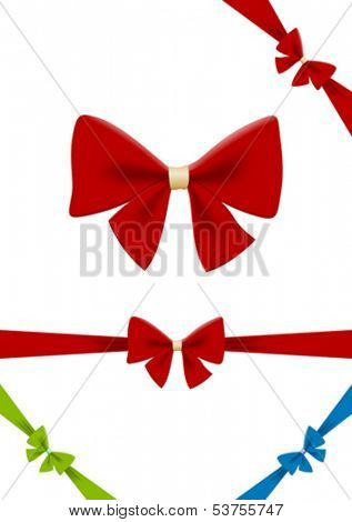 Bow vector design element. Use for gift, cards, Christmas & Happy New Year, Shopping Sale etc. HQ.