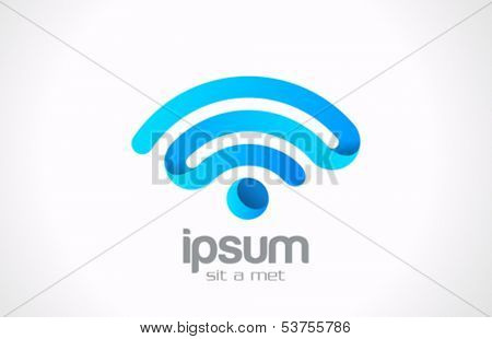 Wireless communication vector logo design template. Creative design wi-fi point. Network point icon