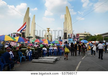 Bangkok - November 11 : The Democrats Are On The March At Democracy Monument, On November 11, 2013