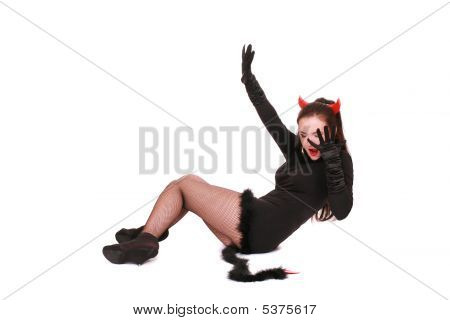Shouting  Woman In A Devil Costume