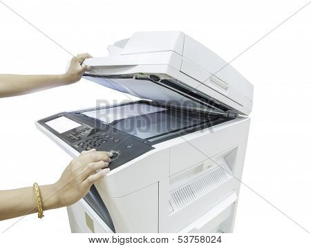 A Person Handling A Multi Purpose Copier Machine Isolated On White Background