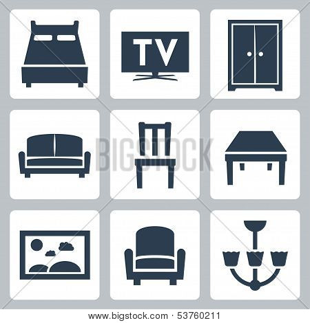 Vector Isolated Furniture Icons Set
