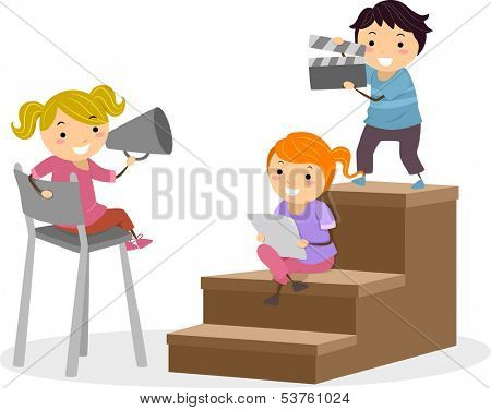 Illustration of Kids Holding a Loudspeaker and a Clapperboard While Another Kid Reads a Script