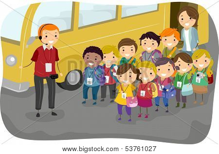 Illustration of a Man Giving Instructions to Kids on a Field Trip