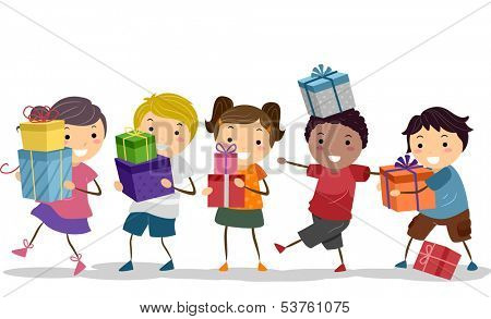 Illustration of a Group of Kids Carrying Nicely Wrapped Gift Boxes