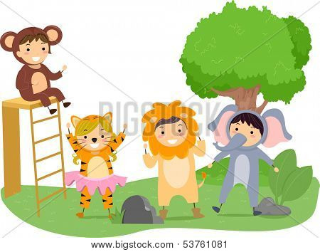 Illustration of Kids Performing on a Play With a Jungle Theme