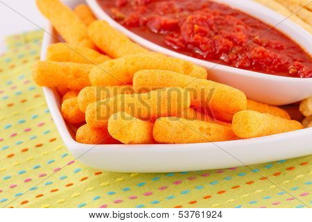 Corn Chips And Red Sauce