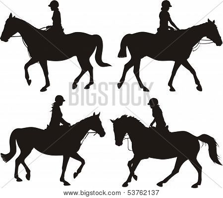girl on horseback - silhouettes