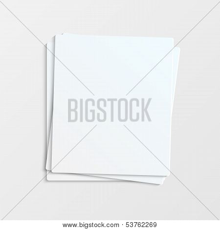 Pile Paper On A Gray Background.stationery.blank Sheets Of Paper For Entries.vector