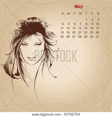 Artistic Vintage Calendar For May 2014.