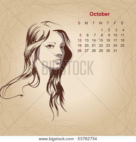 Artistic Vintage Calendar For October 2014.