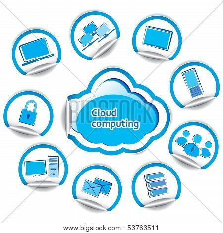 Cloud Computing Concept Set Of Computer Stickers