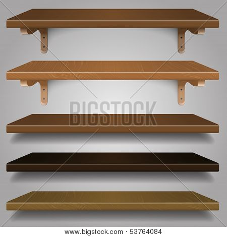 vector - Wood Shelves,