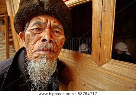 Old Man Asian, From The Rural Areas Of Southwest China.