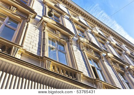 Sunlit Facade Of An Old Building
