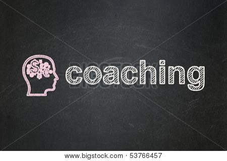 Education concept: Head With Finance Symbol and Coaching
