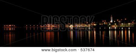 View Of A City Of Supetar, Croatia At Night