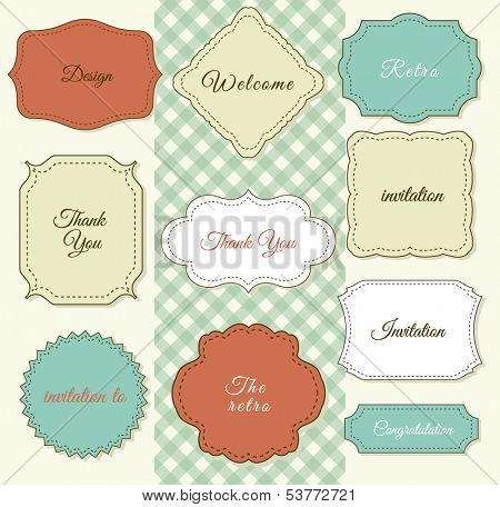 Vintage Frames on Shabby Chic background. Printing on fabric and paper.
