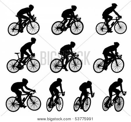 10 high quality racing bicyclists silhouettes