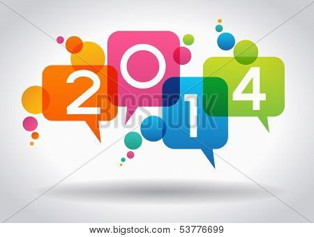 Vector 2014 Happy New Year background.  The file is saved in the version AI10 EPS. This image contains transparency.