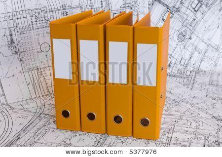 Yellow Binder Folders In The Design Drawings