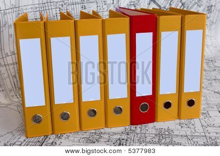 Yellow Binder Folders In The Design Drawings