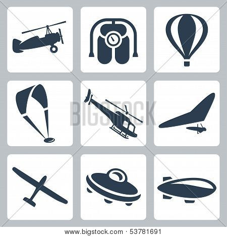 Vector Aircrafts Icons Set: