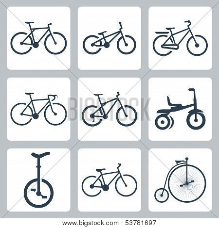 Vector Isolated Bicycles Icons Set