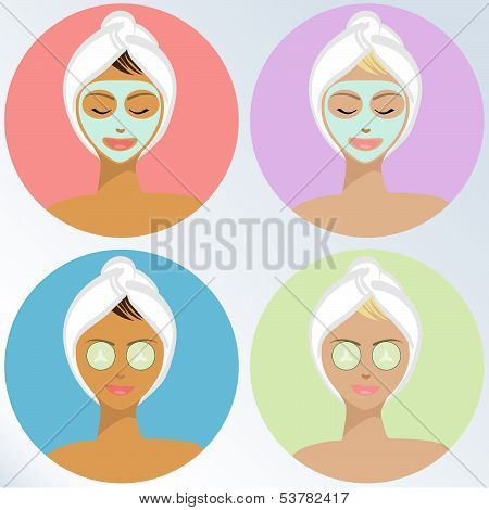 Young Woman At The Spa - Vector Illustration