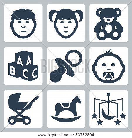 Vector Isolated 'kids' Icons Set: Boy, Girl, Teddy Bear, Bricks, Baby's Dummy, Baby, Baby Carriage,