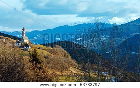 Morning Mountain Country View With Church On Hill.