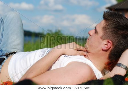 Young Man And Nature