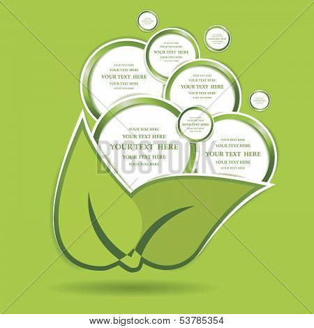 Paper Green Bubbles Web Design Isolated. Vector Illustration