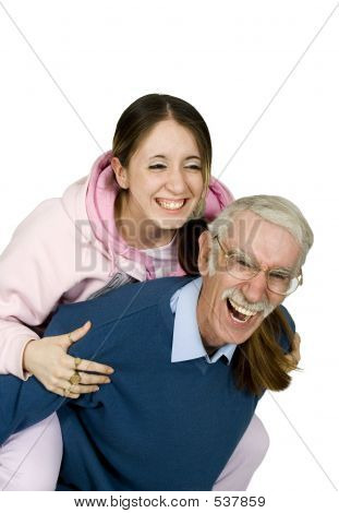 Girl And Her Father Having Fun
