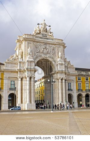Rua Augusta Arch is a stone, triumphal arch-like, historical building and visitor attraction in Lisbon, on Commerce Square, built to commemorate the city's reconstruction after the 1755 earthquake.