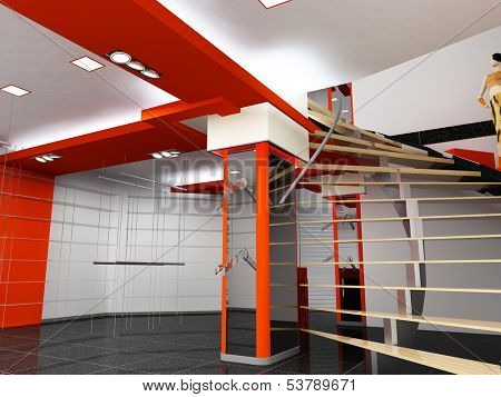 modern cloth boutique interior.modern design concept