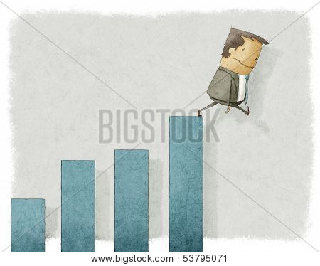 businesman falling from chart