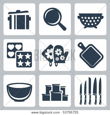 Vector Isolated Kitchenware Icons Set: Pot, Frying Pan, Colander, Baking Mould, Potholder, Cutting B
