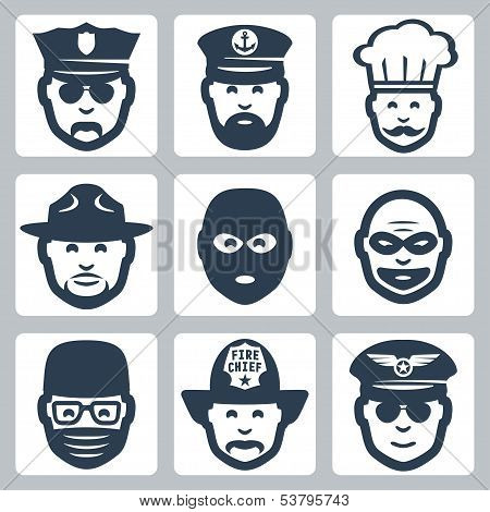 Vector Avatar/profession/occupation Icons Set: Police Officer, Captain, Chef, Ranger, Anti-terrorist
