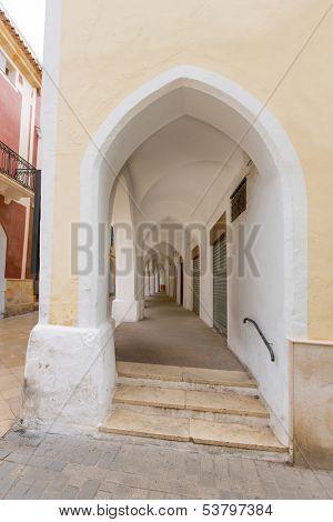 Ciutadella Menorca Ses Voltes arches Ciudadela downtown in Balearic islands