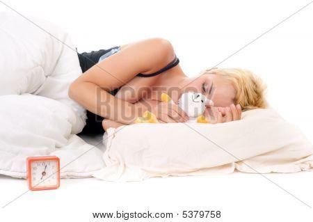 Blond Woman Sleeping With Teddy Bear